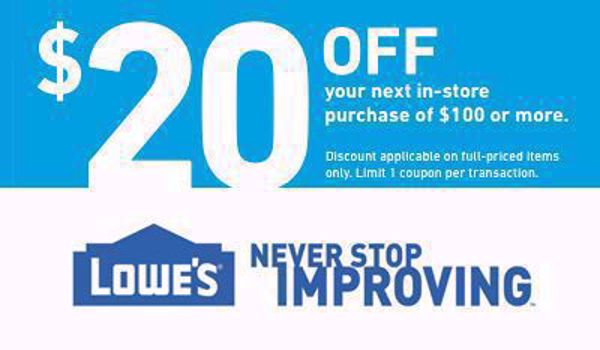 Picture of $20 Off $100 Lowes - 02/29/2020